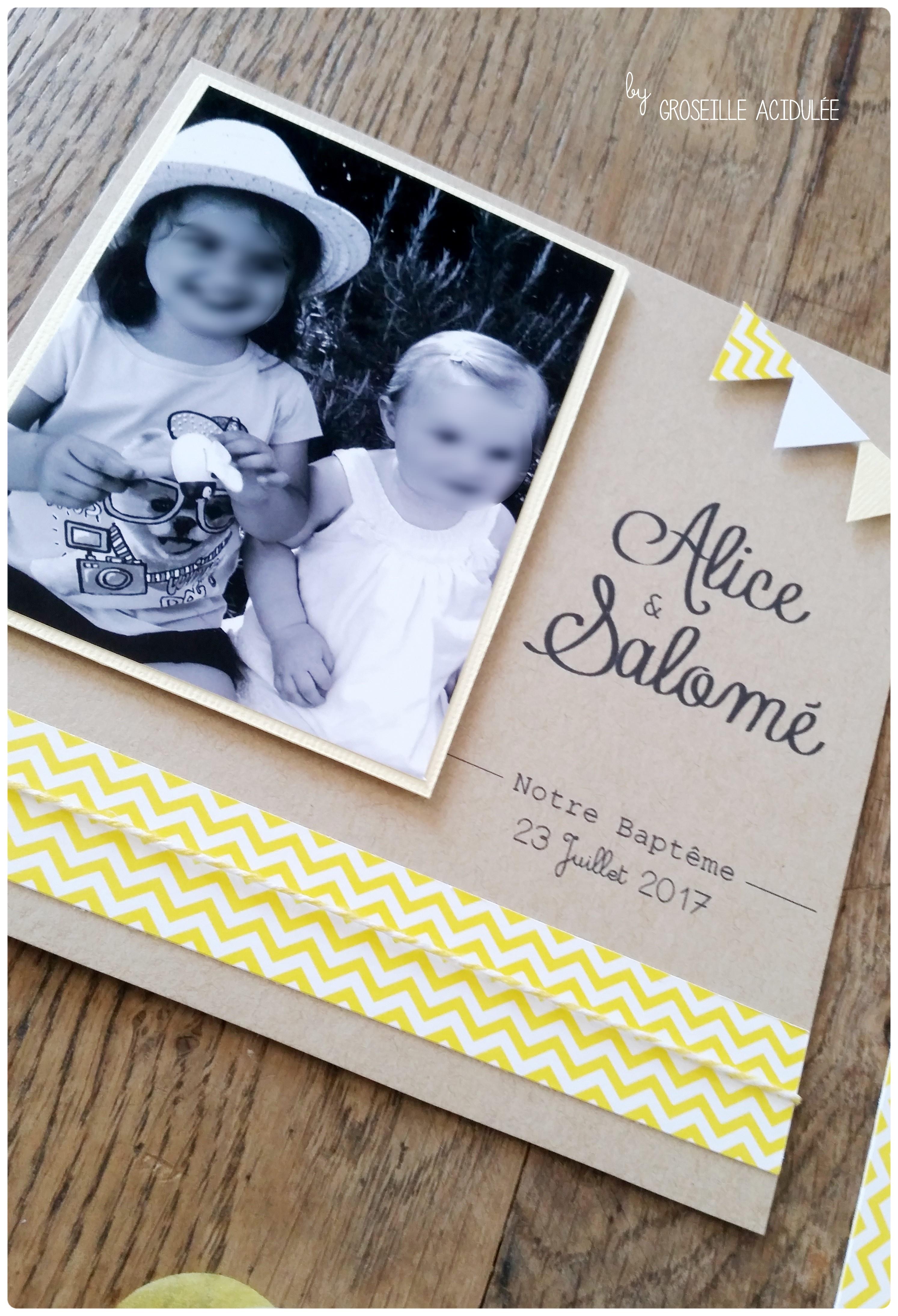 Faire-Part – Baptême d'Alice et Salomé