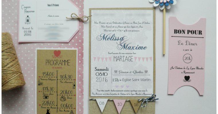 Faire-part Mariage – Mélissa & Maxime