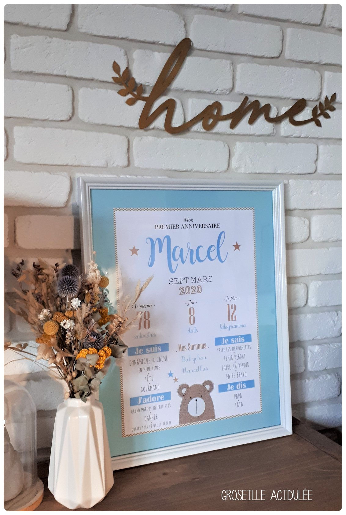 Affiche Anniversaire – 1 an – Marcel