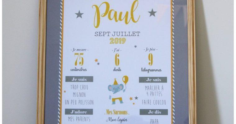 """Affiche """"Mon premier anniversaire – Paul"""